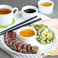 Seared Sesame Crusted Tuna with Orange Ginger Soy Sauce