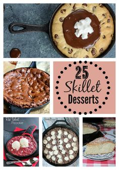 Easy Skillet Desserts--there's just something about scooping warm fruit cobblers, yummy cookies, and fudgy brownies out of a skillet!
