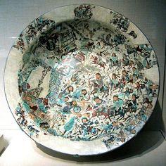 Seljuk Battle plate or bowl, Kashan, Iran, early 13th century. Freer Gallery.