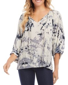 Peasant Tops, Tunic Tops, Types Of Sleeves, Sleeve Types, Dark Skinny Jeans, Strappy Wedges, Karen Kane, Floral Tops, Fitness Models