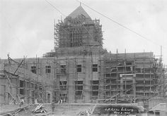 The Goodhue Building under construction, November 2, 1925. The Los Angeles Public Library Photo Collection.