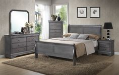 4 Piece Louis Phillip Bedroom Set with Queen size bed, Dresser, Mirror and one night stand complete set for just $499, Optional Chest for only $179 complete set available in 4 different colors Black \ Cherry Martini \ White \ Grey. optional Black and cherry color king size upgrade for $100 more. We can special order twin or full size (3 business day instead of next day) HEB2147blk HEB2147WHT HEB2147Ch HEB2147grey