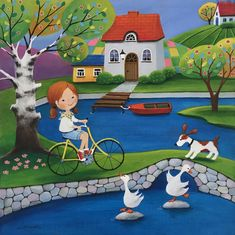 Paintings and illustrations by Iwona Lifsches. Art presentation and sale of original paintings and other art products. Duck Pond, Art Et Illustration, Am Meer, Naive Art, Contemporary Artwork, Drawing For Kids, Pretty Pictures, Oeuvre D'art, Folk Art