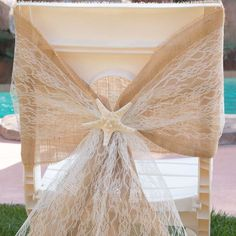Complete the shabby chic, country wedding look with these chair sashes. The same shape as our Burlap chair sashes and just as stylish. The lace is stiff enough to hold its shape when a big bow is tied. Also makes a great table runner. Burlap Chair Sashes, Sisal Rope, Floral Supplies, Big Bows, Wedding Looks, Table Runners, Accent Decor, Centerpieces, This Is Us