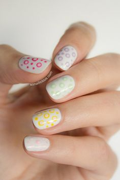 Cute polka dot nails. Click for a how-to. #nails