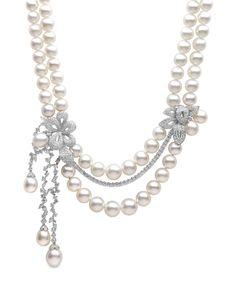 Diamond Necklace Yoko London South Sea pearl and diamond necklace. Pearl And Diamond Necklace, Pearl Jewelry, Diamond Pendant, Jewelry Art, Bridal Jewelry, Diamond Jewelry, Fine Jewelry, Jewelry Design, Diamond Necklaces
