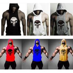 Hot Men Gym Clothing Bodybuilding Stringer Hoodie Tank Top Muscle Hooded Shirt #UnbrandedGeneric #TankTop