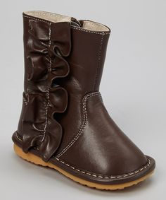 Another great find on #zulily! Laniecakes Brown Ruffle Squeaker Boot by Laniecakes #zulilyfinds