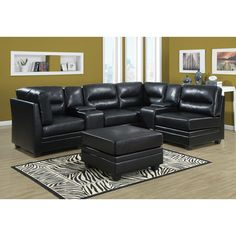 Shop for Monarch Specialties Bonded leather sectional II Bonded Leather Sectional Sofa Dividing Console Piece. Get free delivery On EVERYTHING* Overstock - Your Online Furniture Shop! Sofa Italia, Corner Sectional, Sectional Sofas, Italian Sofa, Retro Sofa, Buy Sofa, Black Sofa, Classic Sofa, Corner Unit