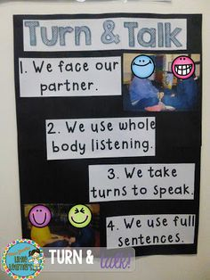 TURN AND TALK anchor chart. Classroom Management. Miss Jacobs Little Learners.