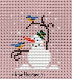 Вдохновилась вашими теплые отзывами и ... вот!      Веселые снеговички радостно тянут   веточки-ручки в вашу сторону :   вышейте и н...