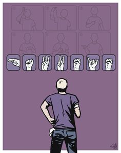 Hawkeye Clint Barton Matt Fraction/David Aja Sign Language ASL Print/Poster <<< Being a ASL student AND hard of hearing I love all the Deaf Hawkeye fanart such as this :) Clint Barton, Hawkeye Comic, Matt Fraction, Sign Language, Marvel Movies, Marvel Cinematic Universe, Signs, Marvel Avengers, Avengers Cast