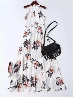 Bohemian Floral Open Back Maxi Dress - WHITE S