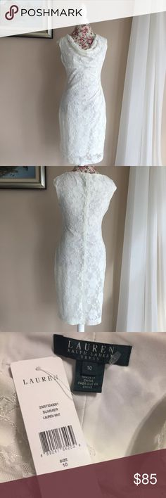 Ralph Lauren Ivory Lace Empire Waist Dress This dress has a draped neck, empire waist, and ruching.  There is some sequin detailing on the pale ivory lace.  Brand new with tag. Dresses