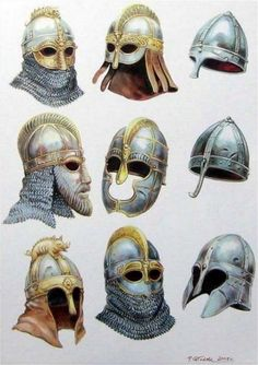 Anglo-Saxon / Viking helmets, including Sutton Hoo (middle row left), Vendel  (top row left and centre, bottom row centre) and Coppergate (middle row centre).