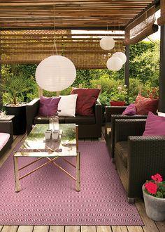 Fun indoor outdoor rug available in multiple colors at Dalgenes Interiors Santa Barbara