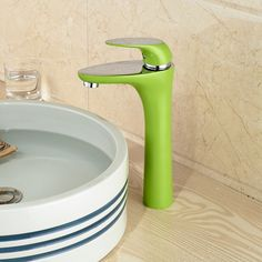 61.61$  Buy here - http://alizqo.worldwells.pw/go.php?t=32523389160 - Green Color Deck Mount Hand Wash Basin Sink Mixer Faucet Tap Single Handle Corrosion Proof