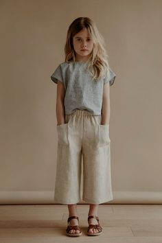 cecile culottes in oatmeal with lou shell top in stripe kids fashion, kids style, casual su. Outfits Niños, Baby Outfits, Cute Kids Outfits, Little Girl Outfits, Newborn Outfits, Toddler Outfits, Cool Outfits, Little Girl Fashion, Toddler Fashion