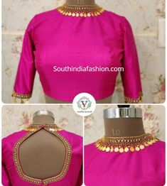 Elegance is the inspiration. Don't you make heads turn eyes pop mouths open minds blanked when u wear this statement piece of work? Beautiful pink color designer high neck blouse with and embroidery kasu work on neckline and back of blouse. Blouse Designs High Neck, Kids Blouse Designs, Fancy Blouse Designs, Bridal Blouse Designs, South Indian Blouse Designs, Sari Design, Pattu Saree Blouse Designs, High Neck Saree Blouse, Stylish Blouse Design