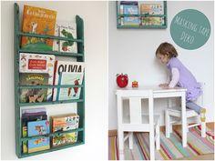 bookshelf idea via A Lovely Journey.
