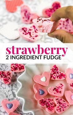 This Strawberry 2 Ingredient Fudge recipe is the perfect fast and easy treat to make just in time for Valentine's Day! Using two easy and inexpensive ingredients, you can make a delicious fudge that is creamy, easy, and practically foolproof!