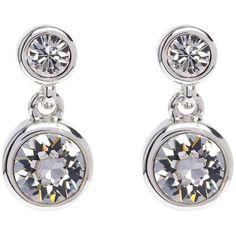Karen Millen Karen Millen Silver Crystal Dot Drop Earring Made With... (79 BGN) ❤ liked on Polyvore featuring jewelry, earrings, silver jewelry, pave jewelry, silver earrings, crystal jewelry and engraved earrings