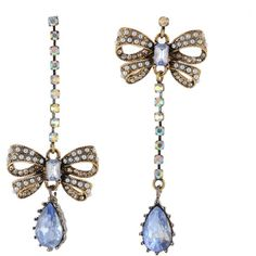 Pearl Bow & Crystal Mismatch Earrings ($45) ❤ liked on Polyvore featuring jewelry, earrings, accessories, blue, brincos, women, bow earrings, womens jewellery, blue crystal earrings and blue jewelry