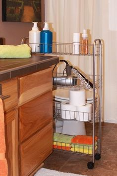 4 Tier Slim Rolling Cart.  Great for small bathrooms where you need a little extra storage