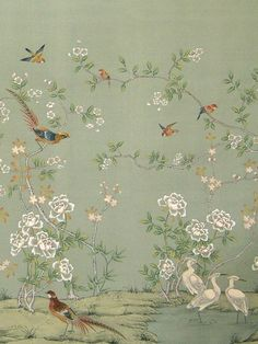 beautiful chinoiserie ~ to find a similar fabric or wallpaper see decoratorarchives., or gorgeous hand-painted papers at chinese-wallpaper. Hand Painted Wallpaper, Painting Wallpaper, Fabric Wallpaper, Wall Wallpaper, Wallpaper Wallpapers, Gracie Wallpaper, Bird Wallpaper Bedroom, Handmade Wallpaper, Wallpaper Designs