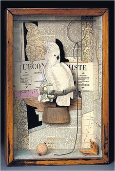 "CAGED ""A Parrot for Juan Gris"" Joseph Cornell Surrealistic objects collage as inspiring diorama. Lost Marbles Copper Metal Art & Jewelry: Joseph Cornell's Boxes Shadow Box Kunst, Shadow Box Art, Collages, Collage Artists, Joseph Cornell Boxes, Royal Academy Of Arts, Photocollage, Marble Art, A Level Art"