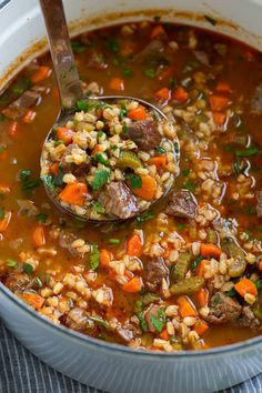 Beef Barley Soup - rich and hearty and perfectly cozy! Made with tender chunks of beef roast, nutritious whole grain barley, fresh veggies and a deliciously seasoned broth. A soup that's sure to warm the soul on chilly days! Easy Soup Recipes, Beef Recipes, Barley Recipes, Beef Broth Soup Recipes, Bean And Barley Soup Recipe, Recipies, Dinner Recipes, Healthy Recipes, Vegetable Beef Barley Soup