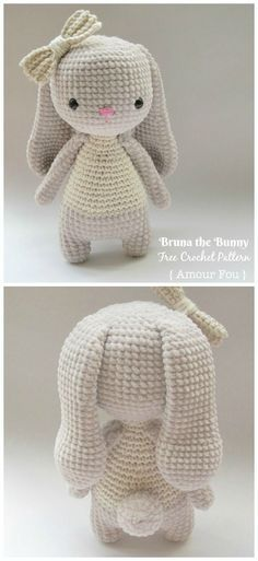 Amigurumi Bunny free crochet patterns - knitting is as easy as . - Amigurumi Bunny free crochet patterns – knitting is as easy as … - Crochet Easter, Bunny Crochet, Cute Crochet, Crochet Baby Toys, Crochet Penguin, Crocheted Toys, Crochet Teddy, All Free Crochet, Crochet Christmas