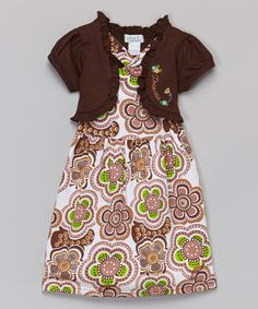 Look what I found on #zulily! Brown Geometric Flower Dress & Shrug - Toddler & Girls by G&J Relations #zulilyfinds