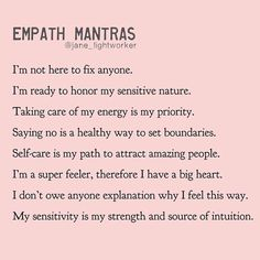 Take what you need ❤️ Which mantra resonates with you today? Join Empath Healing Online Workshop to learn how to become an empowered… Intuitive Empath, Empath Traits, Positive Self Affirmations, Healing Affirmations, Positive Mantras, Mental And Emotional Health, Emotional Healing, Self Care Activities, Self Improvement
