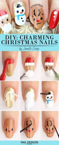 adore art Charming Christmas Nail tutorials Youll 10 Charming Christmas Nail Art Tutorials You'll Adore 10 Charming Christmas Nail Art Tutorials You'll Adore naildiy 531072981060750444 Nail Noel, Xmas Nail Art, Cute Christmas Nails, Xmas Nails, Christmas Nail Art Designs, Winter Nail Art, Nail Art Diy, Holiday Nails, Cool Nail Art