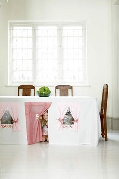 Tablecloth play house Tea parties are even more fun when they take place underneath the table instead of above it. Buy the kit (or simply borrow the idea) here: CoolSpacesForKids / Kids Decor Diy For Kids, Cool Kids, Crafts For Kids, Kids Fun, Diy Crafts, Indoor Playhouse, Playhouse Ideas, Indoor Forts, Secret Hideaway