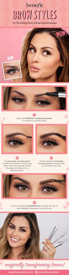 Benefit's got you covered for fab & feathery arches! October's BROW STYLE is all about fine, feathery detail. Prime with BROWVO! conditioning primer to smooth brows. Use precisely, my brow pencil to create hair-like strokes, then brush 3D BROWtones through for a flawless, naturally highlighted finish.  @christendominique