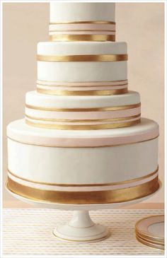 Love the gold and pink on this 4 tier cake