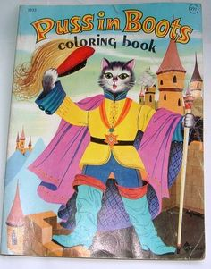 Vintage 1966 Puss in Boots Coloring Book Waldman Great Pictures to Color NY N | eBay