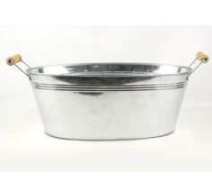 """Galvanized (15.5"""" x9.5"""" x 6"""") Oval Tub with Wood Handles $10 -- for bottles of frizzante"""