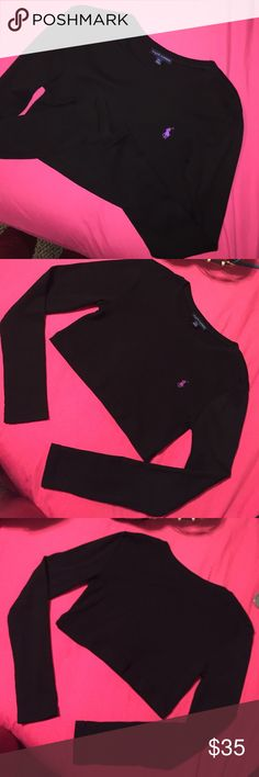 Vintage Long Sleeved Polo Ralph Lauren Crop Top NWOT, never worn! Black with purple logo. Reworked by a website named Frankie Collective! Very short crop top (on me it only goes like 2-3 inches below my bra) They no longer sell this color on their site! I'm just trying to get my money back since it was $40 for the shirt and $15 for shipping! So $32 is the lowest I'm willing to sell for Polo by Ralph Lauren Tops Crop Tops
