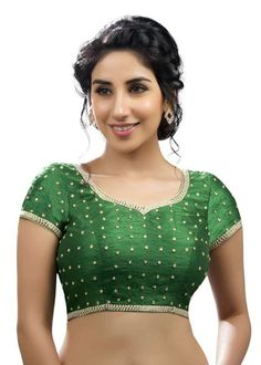 Alluring Green Dupian Silk Ethnic Saree Blouse SNT-KP-93-Green-SL