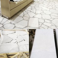 The versatility of our natural white stone Crazy Paving is ideal for driveways, courtyards, garden paving, pool surrounds and pathways. Stone Driveway, Driveway Ideas, Floor Design, House Design, Crazy Paving, Showroom Interior Design, Garden Paving, White Pebbles, Paving Stones