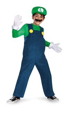 Super Mario Brothers Luigi Boys' Deluxe Costume L Color: Aqua. Super Mario Brothers Luigi Boys' Deluxe Costume L Blue Super Mario Brothers, Super Mario Bros Luigi, Mario Bros., Costume Luigi, Costume Garçon, Costume Shop, Costume Ideas, Boy Costumes, Halloween Costumes For Kids