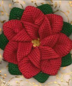 Patron para hacer una flor de noche buena a crochet
