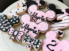 Decorated Minnie Mouse Personalized Cookies Pink by peapodscookies, $38.00