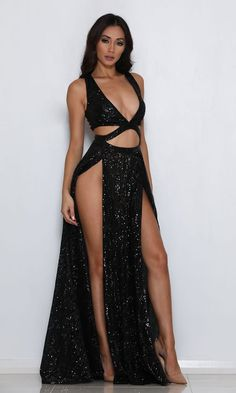 Dreaming Of You Black Sequin Sleeveless Plunge V Neck Cut . Read more The post Dreaming Of You Black Sequin Sleeveless Plunge V Neck Cut Out Double Slit Maxi Gown Dress appeared first on How To Be Trendy. Prom Dresses Under 50, Cheap Party Dresses, Curve Prom Dresses, Sexy Outfits, Sexy Dresses, Evening Dresses, Formal Dresses, Maxi Dress With Slit, Dress Skirt