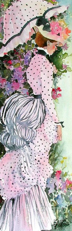 Victorian fashion bustle ~ Garden Stroll by Sherri Crabtree ~ watercolor