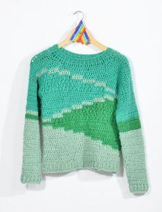 sweater flecha — de las bolivianas Crochet Jumper, Crochet Coat, Crochet Cardigan, Cute Crochet, Beautiful Crochet, Crochet Clothes, Diy Clothes, Crotchet Patterns, Modern Crochet