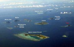 Aerial view of a part of Mamanuca Islands - Fiji Archipelago